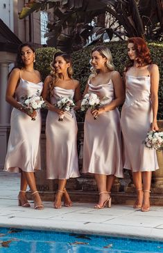 Cheap Straps Short Most Popular Simple Bridesmaid Dresses bridesmaid dresses Cheap Straps Sh Silk Bridesmaid Dresses, Blush Dresses, Wedding Bridesmaids, Bohemian Bridesmaid, Bridesmade Dresses, Bridal Party Dresses, Dream Wedding Dresses, Bridesmaids With Different Dresses, 3 Bridesmaids Pictures