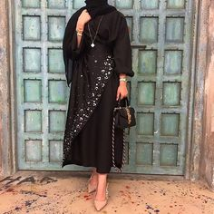 Many more like this can be found at the website! Give it a look for what we pick best for each category!No photo description. Arab Fashion, Muslim Fashion, Modest Fashion, Fashion Dresses, Modest Wear, Modest Dresses, Modest Outfits, Khaleeji Abaya, Abaya Mode