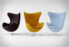 """Egg Chair, iconic armchair designed in 1958 by Arne Jacobsen for Fritz Hansen. Inspired by the """"egg shape"""": welcoming, embracing people like a warm hug. The perfect balance between function and lightness. Arne Jacobsen, Fritz Hansen, Egg Chair, Sofa Chair, Swivel Chair, Chair Cushions, Mcm Furniture, Furniture Design, Danish Furniture"""