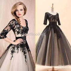 Wholesale Wedding Dresses - Buy Cheap In Stock Black Scoop Appliques Ball Gown Sash 3/4 Sleeves Floor Length Tulle Lace Wedding Dresses Bridal Gowns New 2013, $69.9 | DHgate