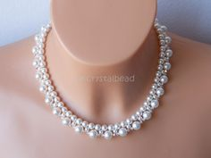Swarovski crystal and pearl bridal collar necklace. SKW0068
