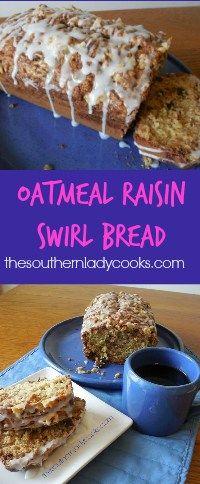 The Southern Lady is Cooking Oatmeal Raisin Strudel Bread - Dessert Bread Recipes Oatmeal Raisin Muffins, Oatmeal Bread, Raisin Bread, Pound Cake Recipes, Bread Recipes, Baking Recipes, Fruit Bread, Dessert Bread, Strudel