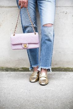 Pink Chanel chevron bag & gold slippers