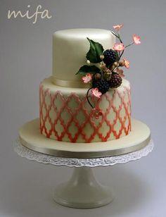 Morrocan Lattice Cake with Sugar Berries - Cake by Michaela Fajmanova Cake Icing, Eat Cake, Cupcake Cakes, Cupcakes, Mini Cakes, Gorgeous Cakes, Pretty Cakes, Amazing Cakes, Wedding Cake Designs
