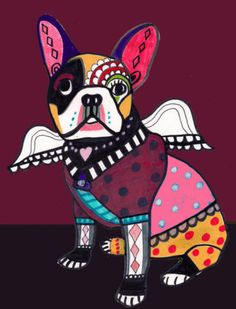 Zoom      Enlarge    Sell one like this    French Bulldog Art Dog Angel Poster PRINT Painting Christmas Gift Abstract
