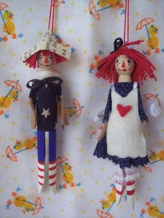 Raggedy Ann and Andy Clothespin Dolls by Hoopdeeloo on Etsy