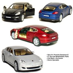 "Set of 4: 5"" Porsche Panamera S 1:40 Scale (Black/Blue/Red/Silver) Kinsmart http://www.amazon.com/dp/B004ZRL6G6/ref=cm_sw_r_pi_dp_IPcHwb0QHJPZ6"