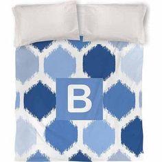 Thumbprintz Batik Monogram Duvet Cover, Blue