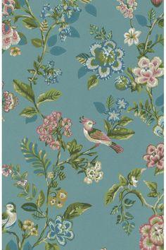 Botanical Print wallpaper sea blue