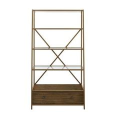 Dorel Living in. Brass/Clear Metal Etagere Bookcase with Open Back - The Home Depot Etagere Bookcase, Ladder Bookcase, Gold Etagere, Bookcases, Bookcase Styling, Tempered Glass Shelves, Brown Wood, Wood Shelves, Home Furniture