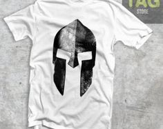 T-shirt #Spartan Helmet #Fitness #Muscle #Boxing #MMA #Warrior Grey White Red Military Green man Black graphic Fashion Vintage Epic