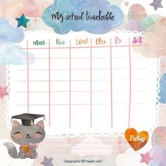 Cute school timetable