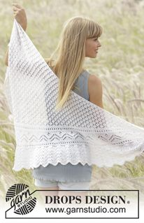"""Tender Kiss - Knitted DROPS shawl with lace pattern worked sideways in """"Alpaca"""". - Free pattern by DROPS Design"""