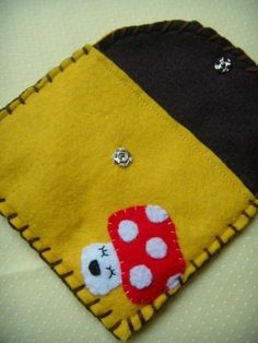 Items similar to Happy Mushy Snap Pouch - Eco-friendly Felt Mushroom Wallet/Pouch on Etsy Felt Mushroom, Felt Case, Felt Bookmark, Bookmarks Kids, Handmade Items, Handmade Gifts, Little Things, Hanging Out, Hand Stitching