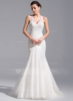 Trumpet/Mermaid V-neck Chapel Train Lace Up Covered Button Regular Straps Sleeveless Church General Plus No Spring Summer Fall Ivory Tulle Lace Wedding Dress