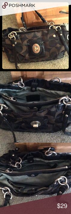 Black COACH purse Descent condition, black COACH purse. Used but and one strap is broke, but can be fixed. Good DIY project. Coach Bags Shoulder Bags