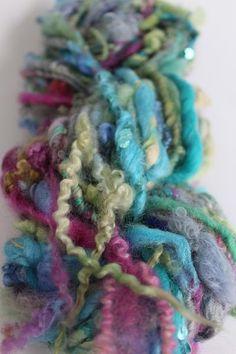 Mermaid Art Yarn - Sequin hand spun yarn