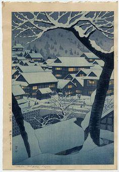 Kasamatsu Shiro: Shinshu Hotsprings, woodcut