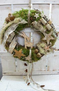 Adventskranz - NATURKRANZ ♥Birkenelch♥ Weihnachts-/Türkranz - ein Designerstück von kranzkunst bei DaWanda