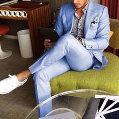Light blue #suit with white vans by @aleksmusika [ http://ift.tt/1f8LY65 ] #saturdayoutfit