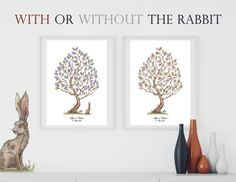 Instant Download Fingerprint Tree Elisa with bunny decoration   Etsy Wedding Fingerprint Tree, Baby Shower Fingerprint, Fingerprint Art, Presentation Pictures, Gift Drawing, Best Memories, Ink Color, Creative Gifts, Birthday Party Decorations
