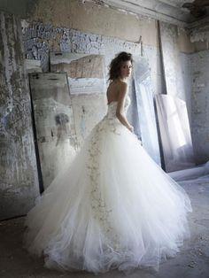 Lazaro-Wedding-Dress Fall-2012  Beautiful designs on the tule skirt!