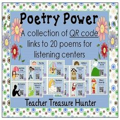 QR Code Cards ~ 20 Poems for listening centers - with animation ~ *POETRY from TeacherTreasureHunter on TeachersNotebook.com -  (5 pages)  - QR links to 20 poems for listening centers