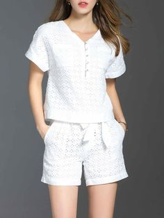 Shop Rompers - White Two Piece Cotton-blend Casual Pierced Romper online. Discover unique designers fashion at StyleWe.com.