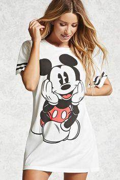 Product Name:Mickey Mouse Varsity Nightdress, Category:intimates_loungewear, Cute Pajama Sets, Cute Pajamas, Disney Outfits, Cute Outfits, Mickey Mouse, Disney Pajamas, Disney Style, Disney Disney, Tee Dress