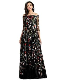 7e151300f YSMei Women's Summer Embroidery Flower Long Prom Dress With Sleeves Off  Shoulder Evening Party Gown Black 4