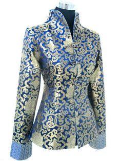 CF navy blue red black Chinese Silk Women's Jacket/Coat in Clothes, Shoes & Accessories, Women's Clothing, Coats & Jackets African Wear, African Dress, Batik Blazer, Plus Size Fashionista, Batik Fashion, Latest African Fashion Dresses, Silk Jacket, Chinese Clothing, Oriental Fashion