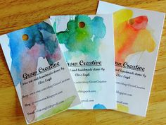 DIY Watercolored Business Cards
