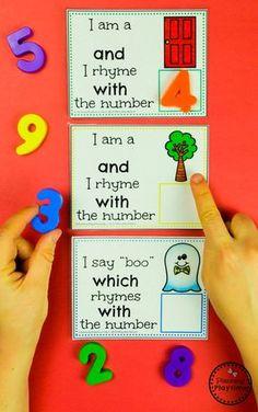Fun Number Rhyme Cards - Rhyming Words for Kids numberrhymes planningplaytime rhymingwords kindergartenworksheets rhymingworksheets literacyworksheets 297730225364394792 Rhyming Words For Kids, Rhyming Word Game, Rhyming Worksheet, Rhyming Activities, Kindergarten Literacy, Preschool Classroom, Preschool Learning, Preschool Activities, Literacy Centers