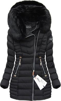 PIKOWANA KURTKA Z KAPTUREM CZARNA (W820) Winter Outfits Women, Winter Jackets Women, Winter Fashion Outfits, Coats For Women, Fall Outfits, Clothes For Women, Black Boots Outfit, Baby Girl Jackets, What To Wear Today