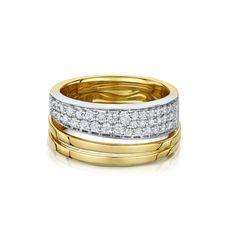 Yellow and White Gold 3 Row Diamond Dress Ring - Jewellery - Laing Edinburgh