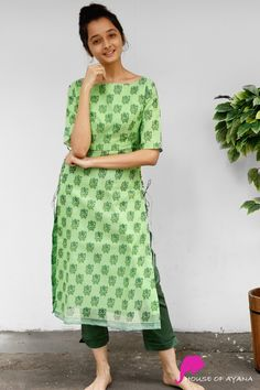 Evergreen Forest Kota Kurti with Straight Pants İslami Erkek Modası 2020 Simple Kurta Designs, Kurta Designs Women, Salwar Designs, Designer Party Wear Dresses, Kurti Designs Party Wear, Indian Designer Outfits, Indian Outfits, Casual Indian Fashion, Teen Fashion