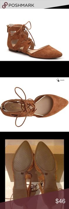 🆕JESSICA SIMPSON ZIANA FLAT RUST (Sz 7.5 ) Jessica Simpson Ziana Flat is right on trend  with ghillie lace - up .It has Suede upper . Back zipper for easy on/off. Ghillie lace up. Pointed toe. Synthetic sole. Jessica Simpson will compliment your warm weather style perfectly .The color is rust, brownish . Brand new with tag. Jessica Simpson Shoes Flats & Loafers