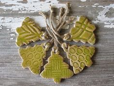5 Peridot Green Christmas Tree Ornaments - Set of 5 Pottery Christmas Ornament - Various patterns