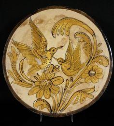"""Vintage 11"""" FANTASIA Tlaquepaque Tonala Mexican GOLD BIRDS Art Pottery Plate"""