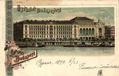 1899 Budapest V. Vigadó a Duna felől nézve, Regel & Krug Art Nouveau litho Budapest, Big Ben, Art Nouveau, Louvre, Building, Travel, Dune, Viajes, Buildings