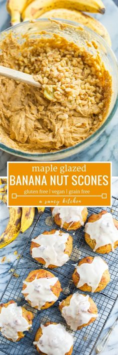 Easy to prepare Banana Nut Scones - like banana bread in scone form with a simple maple glaze and packed with chopped walnuts| #GlutenFree + #Vegan + #GrainFree + #Scones