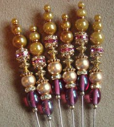 beaded stick pins - I think these are so pretty! But what would I do with them..?