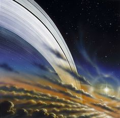 The rings of Saturn imagined by David A. Hardy.