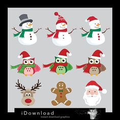 Christmas clipart Christmas clip art Santa Claus by iDownload, €3.35