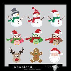 Christmas clipart Christmas clip art Santa Claus by iDownload, €3.35