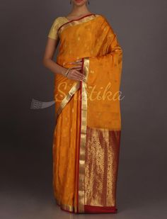 Nayana Golden Paisley Motifs Dressy Pure #MysoreSilkSaree
