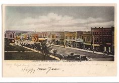 Vintage #1910's #Fairbury, #Nebraska color postcard, South Side of the Square, Fairbury, Nebraska. Shows store fronts, dirt streets and horse and buggies.  Published by by A. V. Pease and Co., #Fairbury #Nebraska. Original postcard dating to circa 1910s. Square Street Scene, A V Pease - Avid Vintage - 1