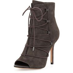 Sam Edelman Asher Peep-Toe Lace-Up Bootie ($180) ❤ liked on Polyvore featuring shoes, boots, ankle booties, grey, high heel ankle boots, grey ankle boots, peep toe bootie, gray booties and suede ankle boots