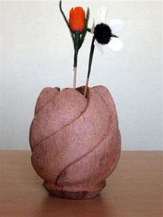 35 Best Coconut Crafts images | Hobby og håndarbejde, Gds ... Flower Vase Made Of Coconut S on plumeria flower vase, candy cane flower vase, one flower vase, waffle cone flower vase, pumpkin flower vase, candy corn flower vase,