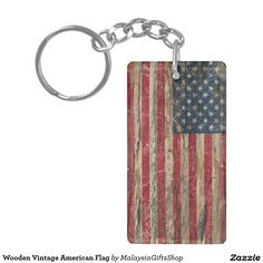 Wooden Vintage American Flag Double-Sided Rectangular Acrylic Keychain